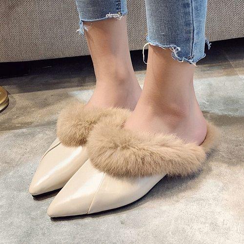 Women's Fur Slippers Autumn New Ladies Mules Ponited Toe Half Slippers Female Low Heel Elegant Flats Women Shoes Slides