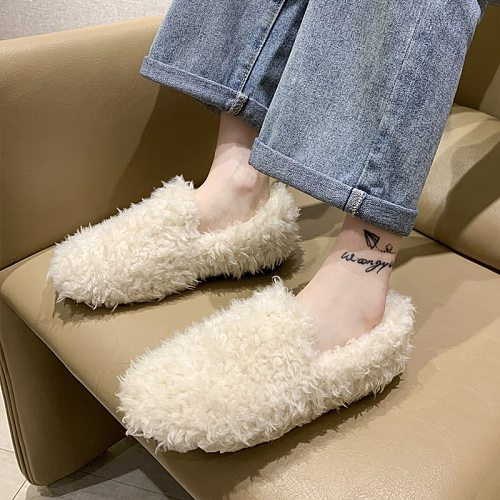 Women Casual Shoes Comfortable Warm Lovely Home Flat 2020 New  Winter Fur Shoes Fashion Designer Slip-on White Home Woman Shoes