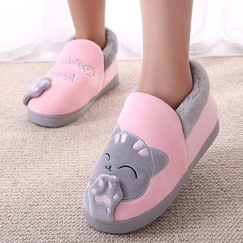 Women Winter Warm Home Slippers Couple Shoes Female Plush Cat Animal Slip On Soft Indoor Flats Comfort Ladies Man Plus Size
