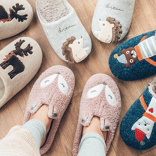 Winter Warm Home Women Fur Slippers Cute Fox Unicorn Bear Animals Indoor Cartoon Ladies Slippers Soft Memory Foam Couples Shoes