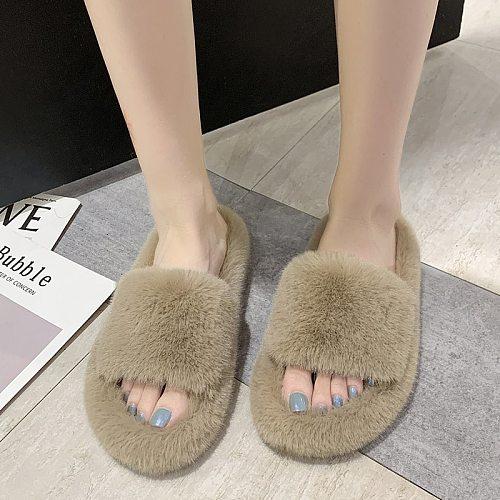 2020 Women Slippers Winter Warm Female Slip-On Flat Slippers for Home Black Female Faux Fur Slippers Plus Size 35-42 Women Shoes
