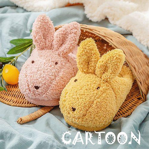 2020 New Cartoon Rabbit House Children Fur Slippers Winter Warm Plush Boys Girls Bedroom Cotton Shoe Non-slip Home Kids Slippers