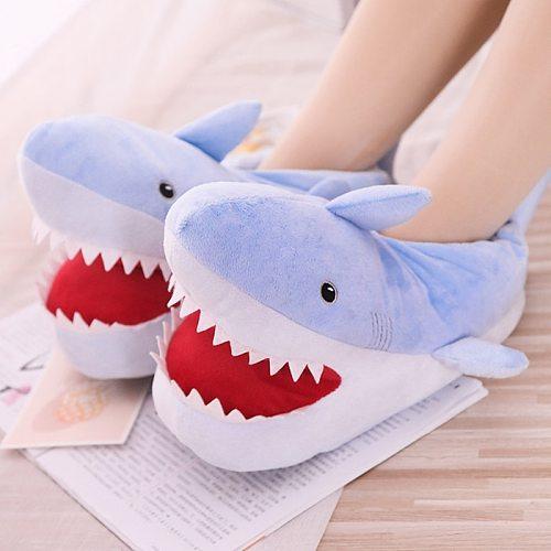 Winter Home Women Fur Slippers Funny Animal Shark Shape Warm Cottom Fur Indoor Floor Men Shoes Ladies Furry Slides One Size