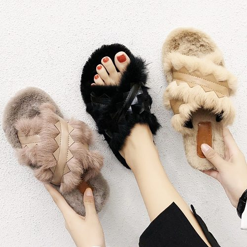 Fashion Faux Fur Womens Slippers Cold Day Warm Home Furry Slippers Slip-on Flat Ladies Mules Plush Casual Shoes Women Slippers