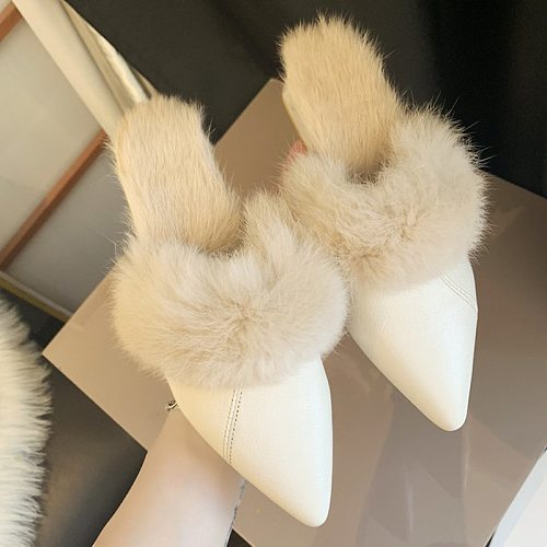 Fashion Pointed Temperament Plush Low-heeled Slippers Set Foot Vacation Solid Color Comfortable Casual Slippers Women Shoes