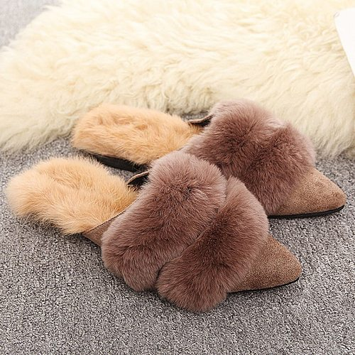 2020 Women Slippers Flat Shoes Fashion House Slippers Rabbit Fur Slip-on Cozy Winter Pointed Home Furry Slippers Woman Shoes