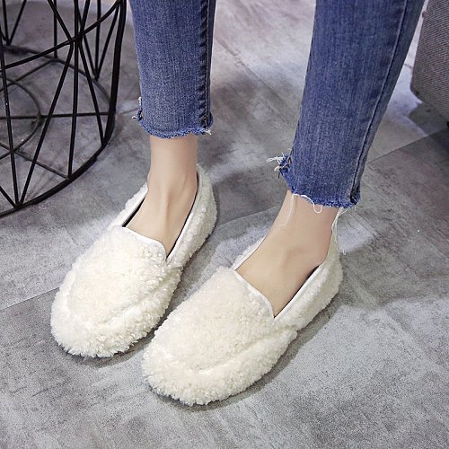 Women Casual Shoes Comfortable Warm Home Flat 2020 Winter Cute Curly Designer Fur Shoes Slip-on Pink External Wear  Woman Shoes