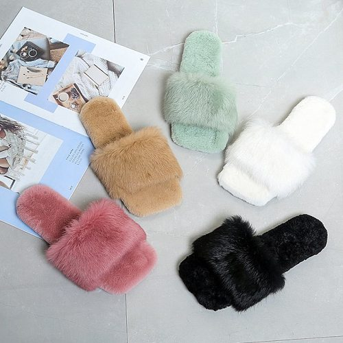 2020 Winter Fashion Women Slippers Faux Fur Solid Color Slip-on Warm Slippers Comfortable Flats Female Slides Casual Home Shoes