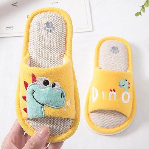 Cartoon Slippers For Boys Girls Breathable Flax Indoor Shoes Children Home Floor Slides Anti Slip Kids Cute Flip Flops KD323