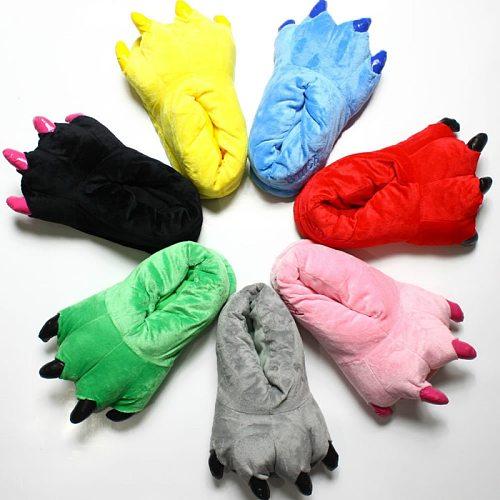 2020 Winter Warm Soft Indoor Floor Slippers Women Men Children Shoes Paw Funny Animal Christmas Monster Dinosaur Claw Plush Home