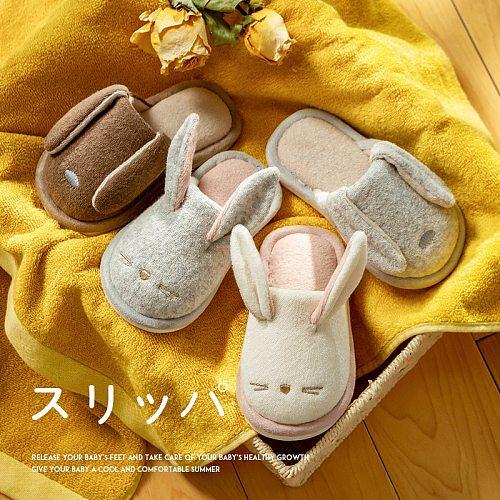 Autumn Winter House Children Slippers Cute Rabbit Boys Girls Bedroom Flock Cotton Slippers Non-slip Home Kids Cartoon Shoes