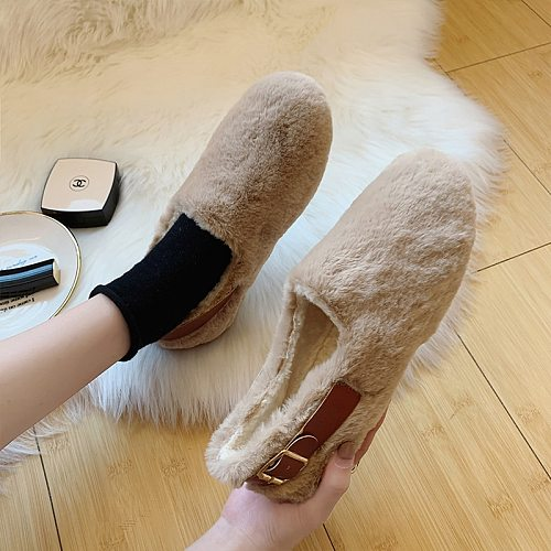 Women Shoes Warm Flat Shoes 2020 New Comfortable Loafers Winter Fur Home Casual Female Shoes Designer Slip-on Khaki Woman Shoes
