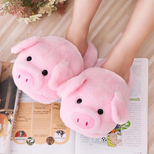 Winter Women Warm Indoor Slippers Ladies Fashion Cute Pink Pig Shoes Women's Soft Short Furry Plush Home Floor Slipper SH467