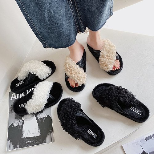 Women Slippers Flat Shoes Solid Color 2020 Girl Fashion Brand Designer Glamour Slippers Slip-on Comfortable Fur Women Shoes