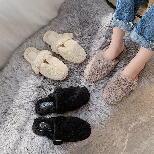New Women Slippers Flat Shoes Winter Plush Fashion Slippers Lovely Home Convenient Slip-on Comfortable Fur  Warm Woman Shoes