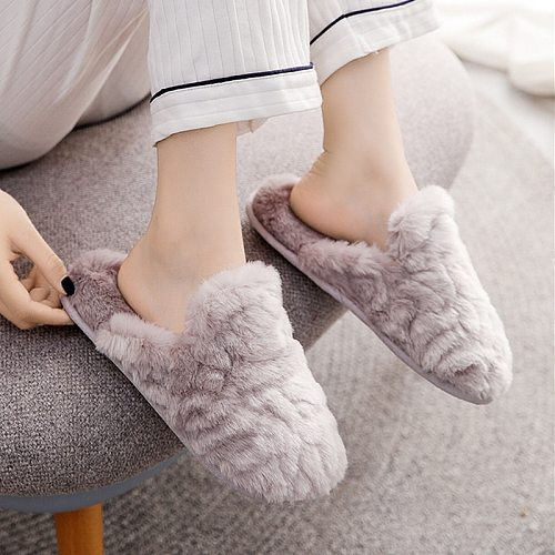 Winter New Solid Chic House Women Fur Slippers Warm Plush Bedroom Flat Shoes Memory Foam Faux Rabbit Fur Warm Comfy Slippers