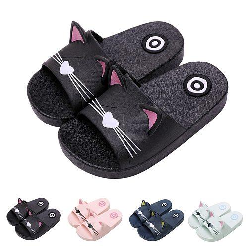 Toddler Boy Girl Home Slippers Cartoon Cat Shoes 2020 Summer Animal Kids Indoor Baby Flip Flops PVC Kawaii Beach Casual Soft