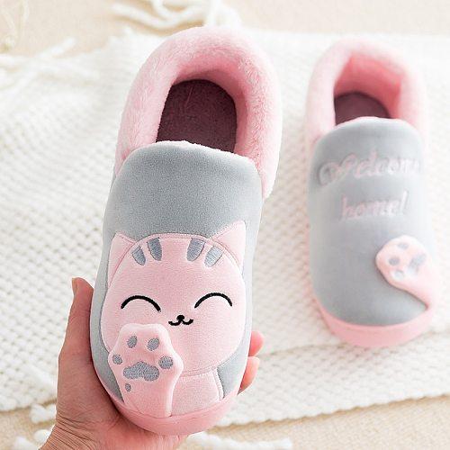 Children Indoor Slippers Winter Warm Shoes Kids Mum Dad Home Floor Slippers Cartoon Style Anti-slip Boys Girls Cotton Shoes FM01