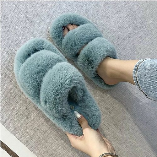 Winter Women Slippers Faux Fur Home Cozy Furry Slides Comfortable Open Toe Designer Fluffy Black Plush Warm House Women Shoes