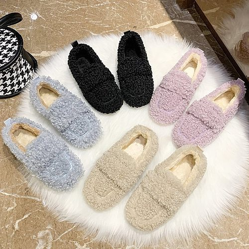 2020 Women Flat Shoes Winter Warm Casual Shoes Comfortable Loafers Fur Home Female Designer Curly Upper Slip-on Woman Shoes