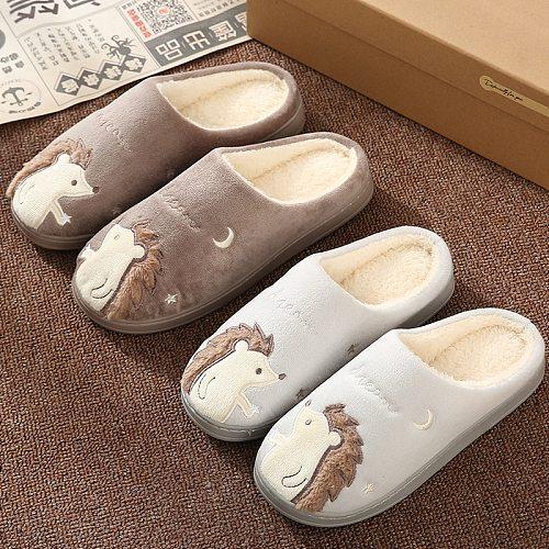 Winter House Fur Slippers Women Warm Cotton Shoes Cute Cartoon Hedgehog Unicorn Indoor Bedroom Non-slip Ladies Furry Slides