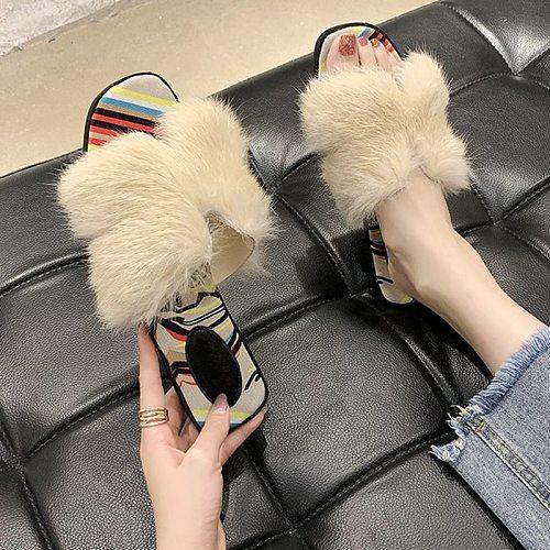 2020 Spring Autumn Fashion Women Slippers Plush Upper Personality Trend Street Designer Comfortable Flats Female Slides