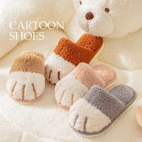 Cute Cat Paw House Children Fur Slippers New Winter Warm Plush Home Kids Cartoon Shoes Boys Girls Bedroom Slippers Non-slip