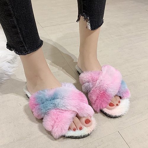 Winter Women House Slippers Faux Fur Fashion Colorful Cross Vamp Furry Slippers Warm Shoes Flats Female Slides Cozy Home