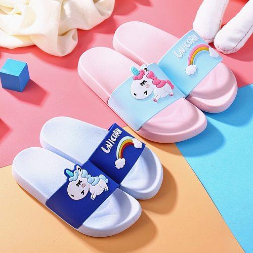House Cartoon Kids Slippers Rainbow Unicorn Slippers Boys Girls Summer Indoor Baby Slippers Non-slip PVC Home Children Slippers