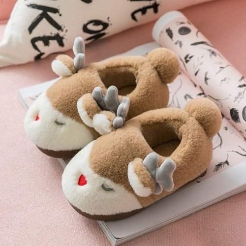 Children Warm Home Slippers Cartoon Deer Soft Fur Kids Mum Indoor Slippers KD161