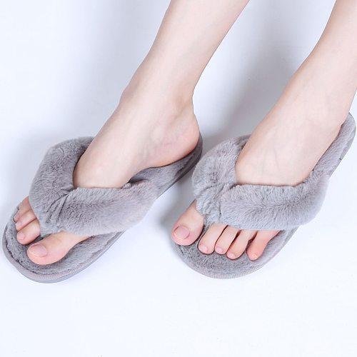 Fashion Fur Women Home Slippers Autumn Winter Warm Flat Ladies Shoes Slip on Plush Women Flip Flops Slides