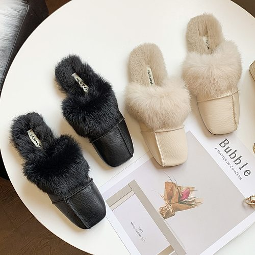 Women Slippers Indoor Flat Shoes Solid Color 2020 Autumn Fashion Office Baotou Slippers Slip-on Comfortable Fur Woman Shoes