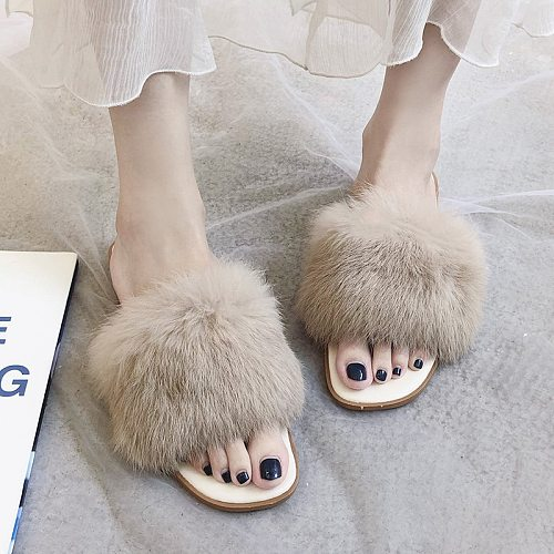Elegance Women Slippers Flat Shoes Solid Color 2020 Spring Autumn Fashion Flock Slippers Slip-on Comfortable Fur Woman Shoes