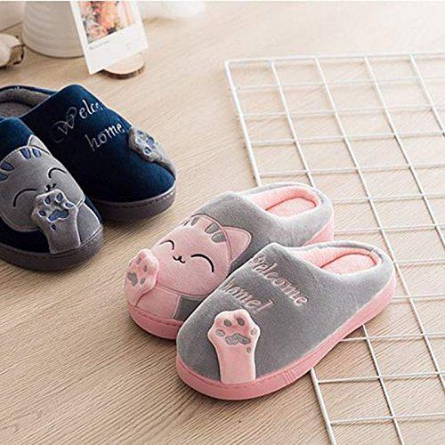 Women Home Slippers Winter Warm Flip Flop Shoes Cartoon Cat Girls Cute Non-slip Warm Indoors Bedroom Floor Shoes
