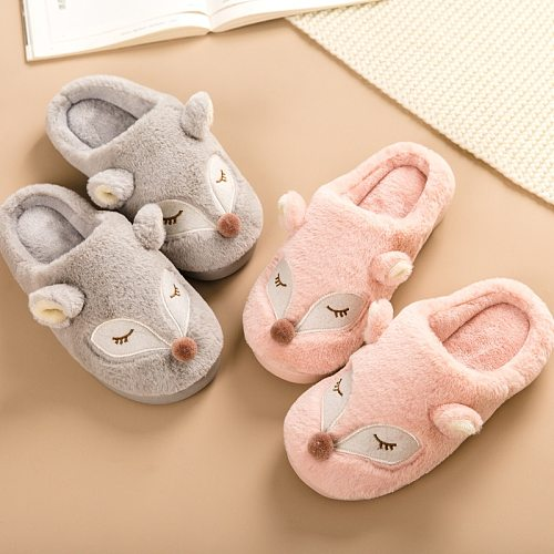 Cute Cartoon Fox Home Women Fur Slippers Winter Warm Plush Bedroom Ladies Flat Shoes House Furry Slippers Couples Cotton Shoes