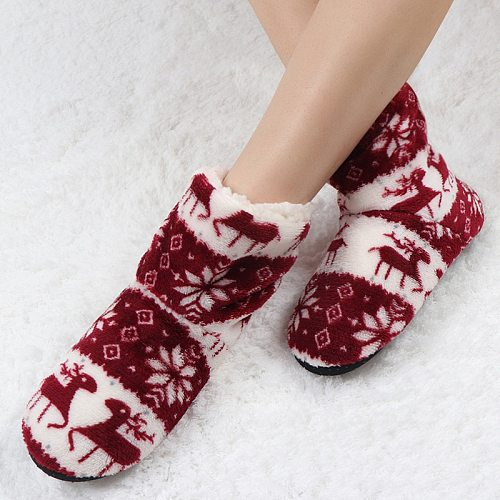 Winter Women Slippers Fur Slides Plush Warm Cotton House Slippers Christmas Elk Indoor Ladies Socks Shoes Woman Zapatos De Mujer