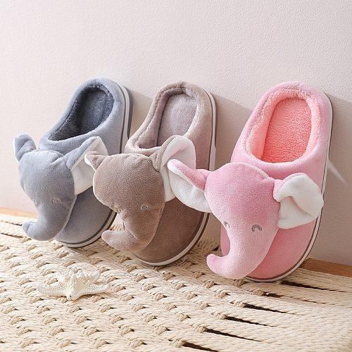 Cartoon Elephant Designer House Children Fur Slippers Winter Warm Plush Boys Girls Bedroom Slippers Non-slip Home Kids Shoes
