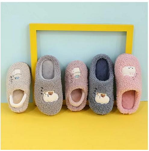 2020 New Kids Indoor Slippers Soft Plush Cartoon Girls Boys Winter Warm Shoes Anti-slip Faux Fur Children Home Slipper KD08215