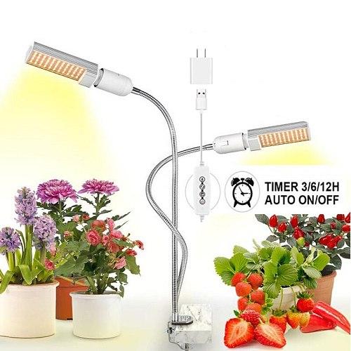 LED Grow Light 45W 88 LEDs 5V usb Sunlight Full Spectrum for Indoor Plant flower seedling Timing Grow Lamp phytolamp with plug
