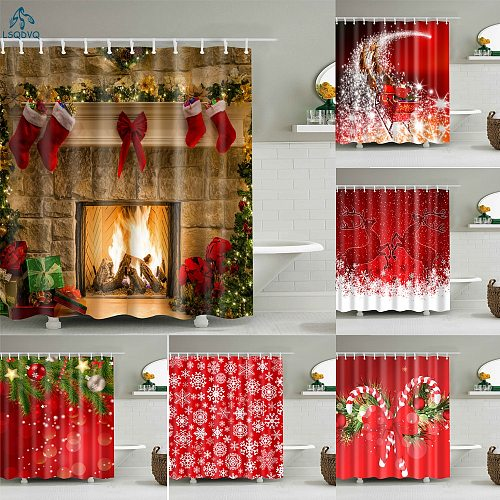 Merry Christmas Trees Snowman Santa Claus Snowflake Shower Curtains Bathroom Curtain Frabic Polyester Waterproof Bath Curtain