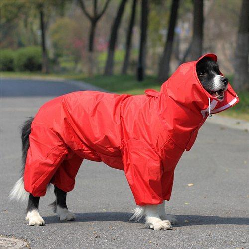 Large Hooded Dog Raincoat Jacket Big Pet Poncho Dog Rain Clothes Waterproof Clothing for Dogs Golden retriever Labrador WLYANG