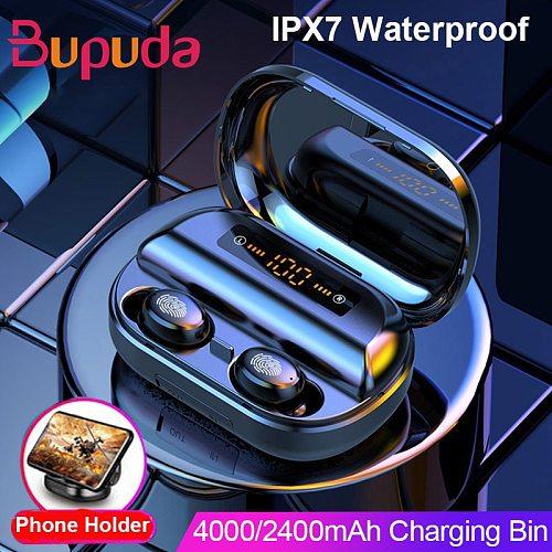 4000 mAh TWS Bluetooth Earphone 5.0 9D Stereo Wireless Headphones Touch Control IPX7 Waterproof Wireless Earphones Power Bank