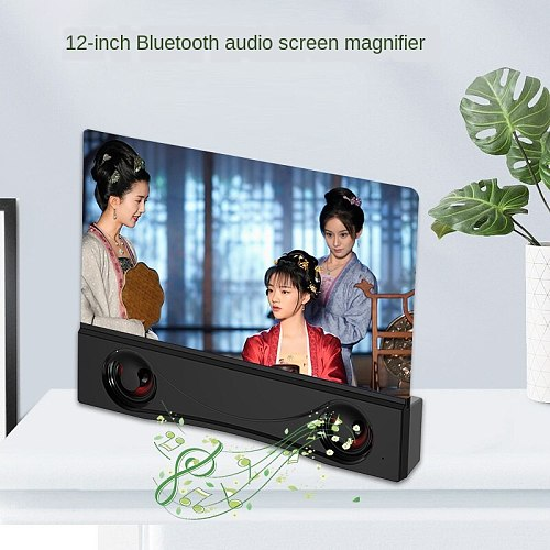 New Style 12-Inch Bluetooth Audio Style Cell Phone Amplifier F12 HD Screen Magnifier Desktop Support