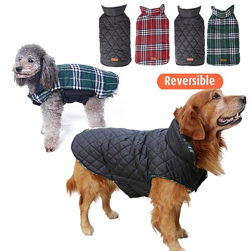 Classic Plaid Pet Dog Clothes For Dogs Autumn Winter Dog Vest Jacket Waterproof Big Dog Coat Bulldog Golden Retriever Clothing