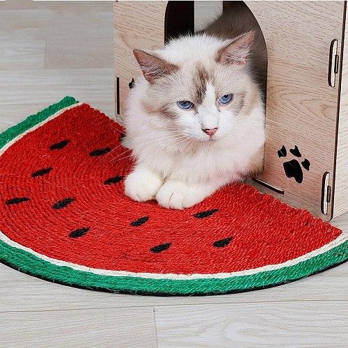 Cat scratch Board natural sisal scratch resistant cat scratch blanket cat grinding claw watermelon toy cat supplies sisal carpet