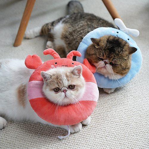 Pet Dog Cat Collar Adjustable E-Collar Wound Healing Soft Prevent Bite Elizabeth Circle Cute Donut Pet Cat Protection Collar