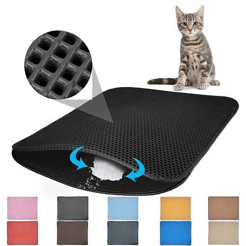 Waterproof Pet Cat Litter Mat EVA Double Layer Cat Litter Pet Litter Cat Mat Clean Pad Products For Cats Accessories