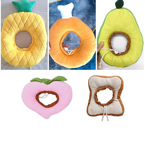 Cute Soft Cotton Pet Elizabethan Collar Adjustable Bread Fruit Shape Cat Neck Cone Recovery Surgery Wound Healing Neck Ring