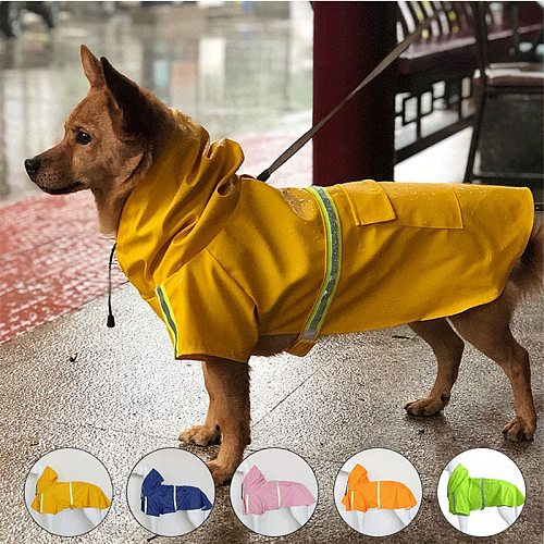 S-5XL Pets Small Dog Raincoats Reflective Small Large Dogs Rain Coat Waterproof Jacket Fashion Outdoor Breathable Puppy Clothes