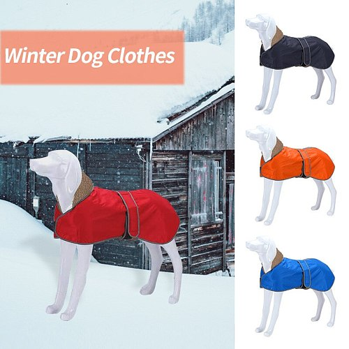 Reflective  Pet Dog Clothes Jacket Coat Winter Soft Warm Fleece Waterproof Thickening Cotton Dog Clothes For Medium Large Dogs
